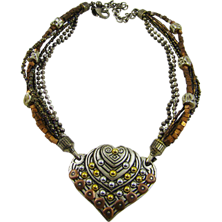 Chico's Mixed Metal Western Style Heart Necklace