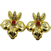 Stunning Fleur De Lis Gold Tone Earrings with Rhinestones
