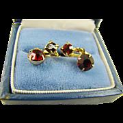 Small Garnet Red Rhinestone Drop Earrings