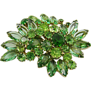 Fabulous Tri-Color Green Weiss Juliana Brooch