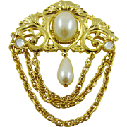 Imitation Pearl and Rhinestone Chatlaine Brooch