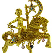 Kirk's Folly Vintage Cupid and Carousel Horse Brooch