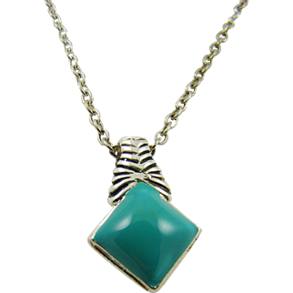 Faux Turquoise Diamond Shaped Pendant with Silver Tone Chain