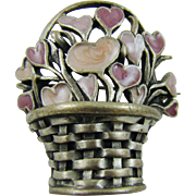 Convex Pewter and Enamel Basket Brooch