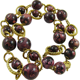 Large Purple Marbled Composition Bead Necklace