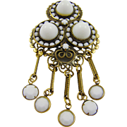 Old Style Filigree Fringe Brooch ~ Milk Glass Stones