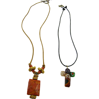 Two Chokers with Cord Necklace and Stone Pendants