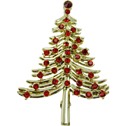 Dodds Red Rhinestone Christmas Tree Brooch