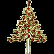 Dodds Red Rhinestone Christmas Tree Brooch