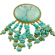 Turquoise and Gold Tone Dangle Brooch