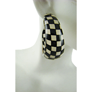 Large Checkerboard Lucite Hoop Earrings