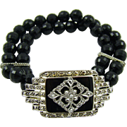 Double Strand Black Bead Bracelet with Marcasite Centerpiece