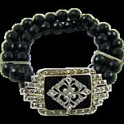 Double Strand Black Bead Bracelet with Marcasite Centerpiece