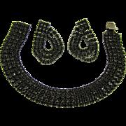Elegant Black Rhinestone Evening Set ~ Bracelet and Earrings
