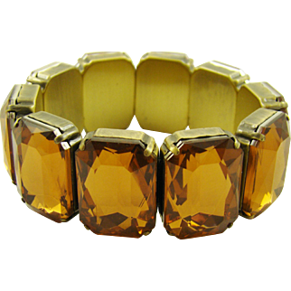 Amber Colored Glass Expansion Bracelet