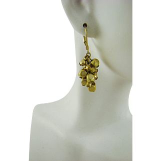 Brushed Gold Tone Grape Cluster Earrings
