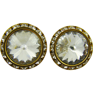 Brilliant Clear Rivoli Rhinestone Earrings