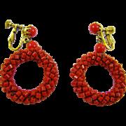 Bright Red Beaded Hoop Earrings