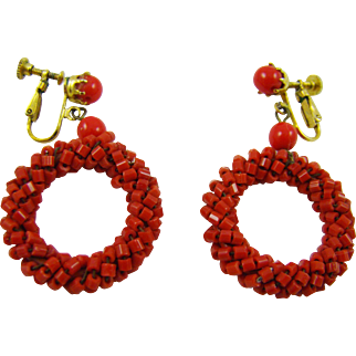 Bright Red Beaded Hoop Earrings
