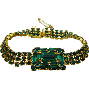 Emerald Green Rhinestone Evening Bracelet