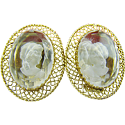 Whiting & Davis Clear Intaglio Earrings