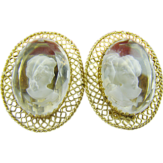 Whiting & Davis Clear Intaglio Earrings