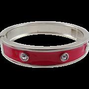 Red Enameled Rhinestone Clamper Bracelet