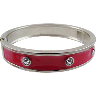 Red Enameled Rhinestone Clamper Bracelet