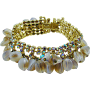Kramer Clam Broth Bead and Champagne Rhinestone Cha Cha Evening Bracelet