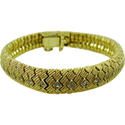 Ciner  Gold Plated Diamond Cut Beaded Bracelet with Rhinestones