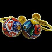 Single Millefiore Bead Earrings