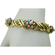 Coro Gold Tone Bracelet with Red Aurora Borealis and Imitation Pearls