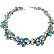 Mint Coro Blue Enamel and Rhinestone Bracelet