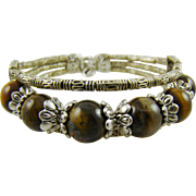 Tiger's Eye and Silvertone Western Style Bracelet