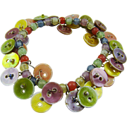 Pearlized Multi-Colored Expansion Button Bracelet