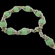 Jade and Rhodium Plated Bracelet
