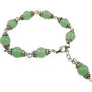 Jade and Rhodium Plated Bracelet