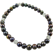 Faux Black Pearl and Crystal Bead Expansion Bracelet