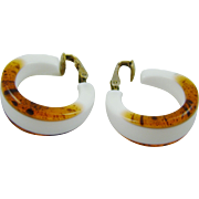 White Lucite Hoop Earrings with Faux Tortoise