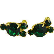 Gold Plated Emerald Rhinestone Earrings