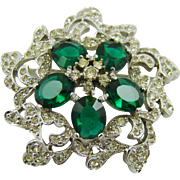 Rhodium Plated Polcini Brooch with Emerald Rhinestones