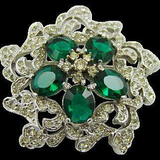 Rhodium Plated Polcini Brooch with Emerald Rhinestones