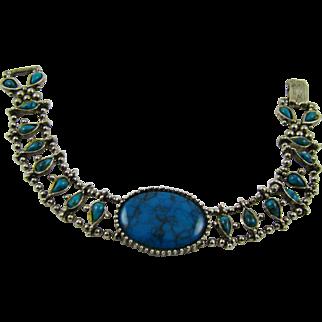 Faux Turquoise Rhodium Plated Bracelet