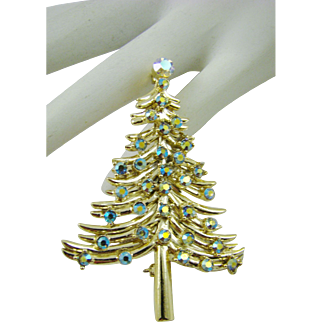 Dodd's Aurora Borealis Swarovski Crystal Christmas Tree Brooch