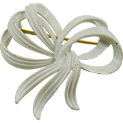 Matte White Enamel Bow Brooch by Monet