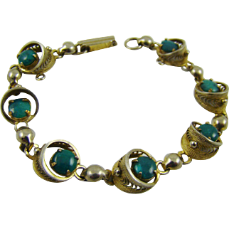 Old Sorrento 1/20 12KGF Bracelet with Turquoise Colored Stones