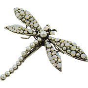 Large Siman Tu Dragonfly Natural Pearls, Moonstone and Crystal Brooch