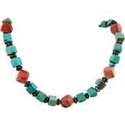 Sponge Coral and Painted Turquoise Choker with Sterling