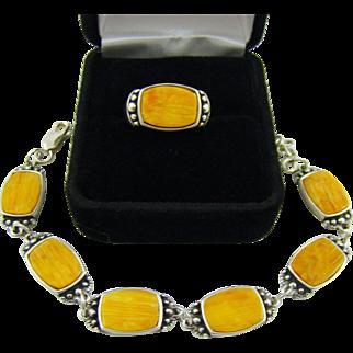 Navajo Orange Spiny Oyster Sterling Bracelet and Ring