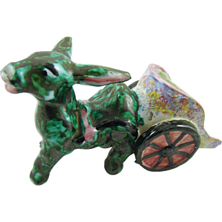 Old Italian Majolica Pottery Donkey with Cart
